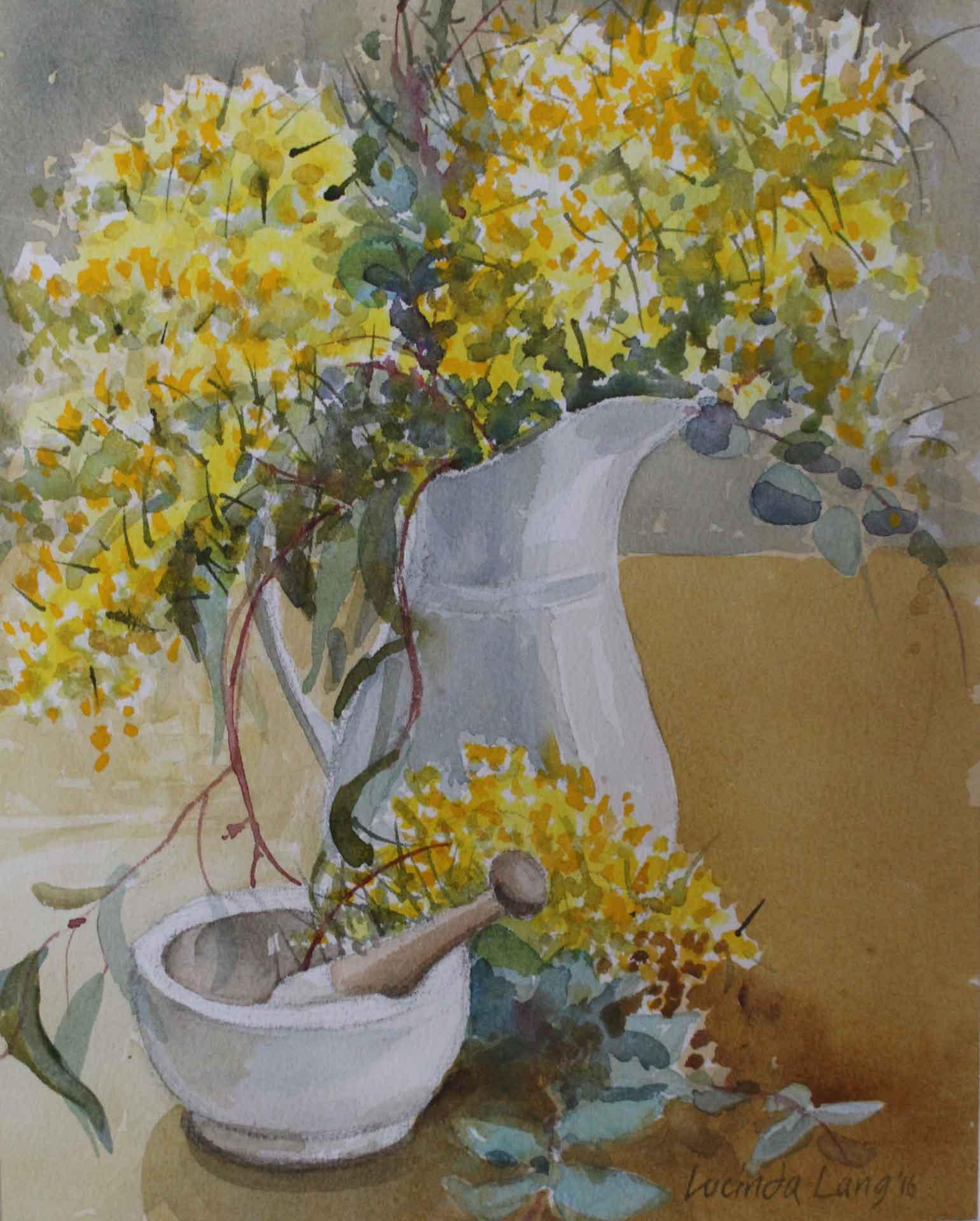Wattle, pestle and mortar